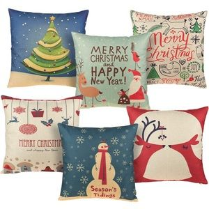 Christmas Throw Pillow Covers - 6-Pack Colorful